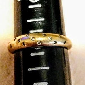 14K Poka Dot Genuine Diamond Band